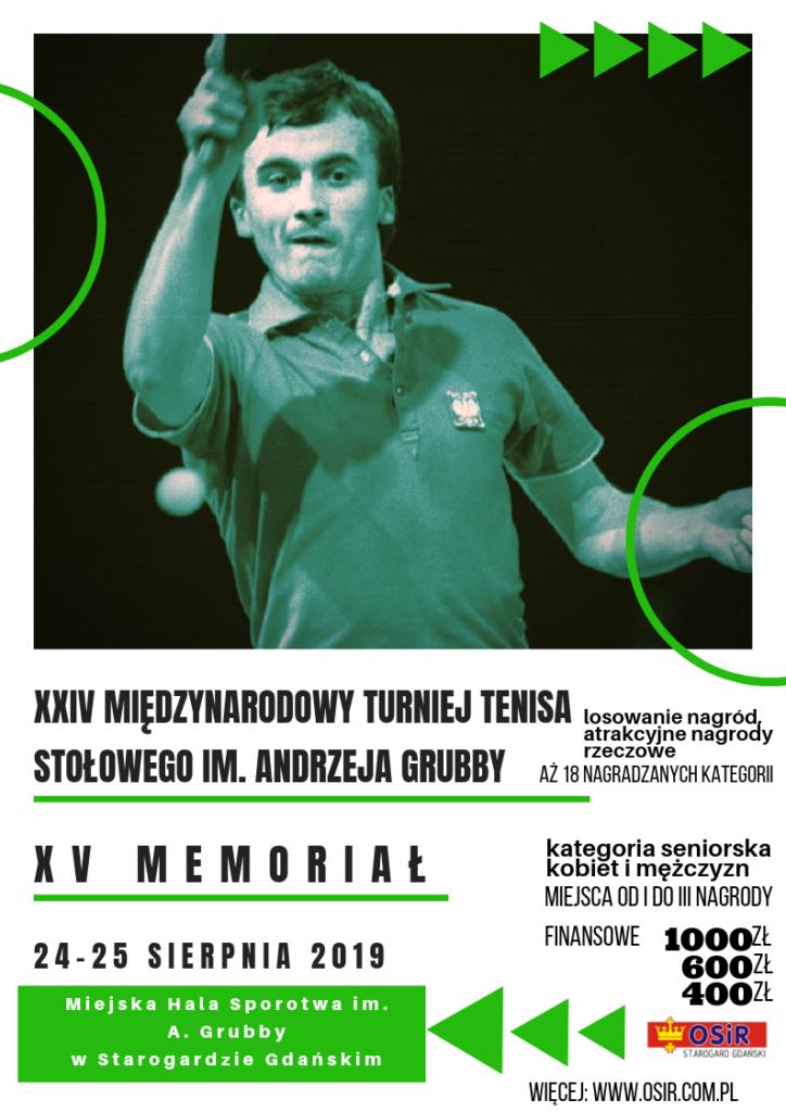 XXIV Międzynarodowy Turniej Tenisa Stołowego  im. Andrzeja Grubby XV Memoriał